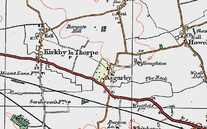 Old map of Asgarby in 1922