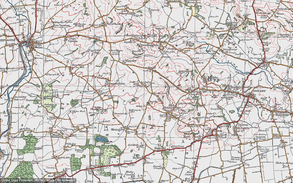 Old Map of Asgarby, 1923 in 1923
