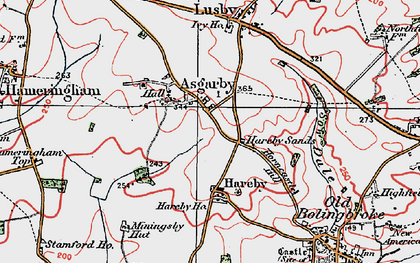 Old map of Asgarby in 1923