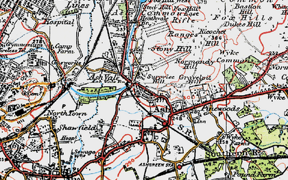 Old map of Ash Common in 1919