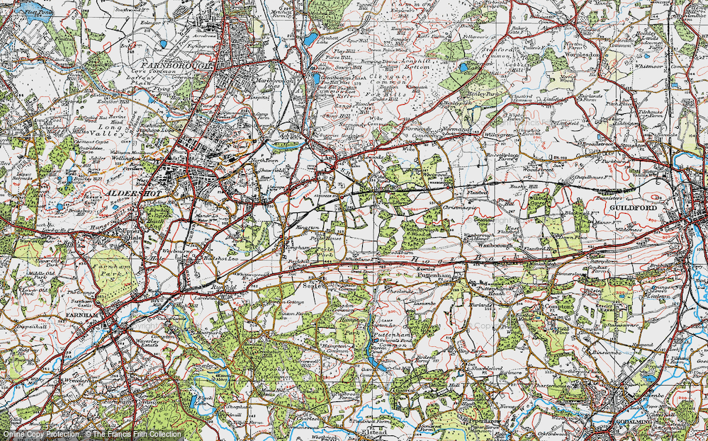 Old Map of Ash Green, 1919 in 1919