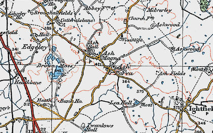 Old map of Ash Magna in 1921