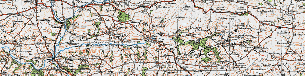 Old map of Ash Mill in 1919