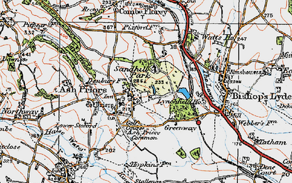 Old map of Ash Priors in 1919