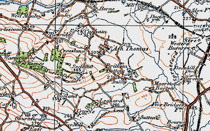 Old map of Ash Thomas in 1919