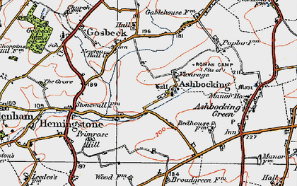Old map of Ashbocking Hall in 1921