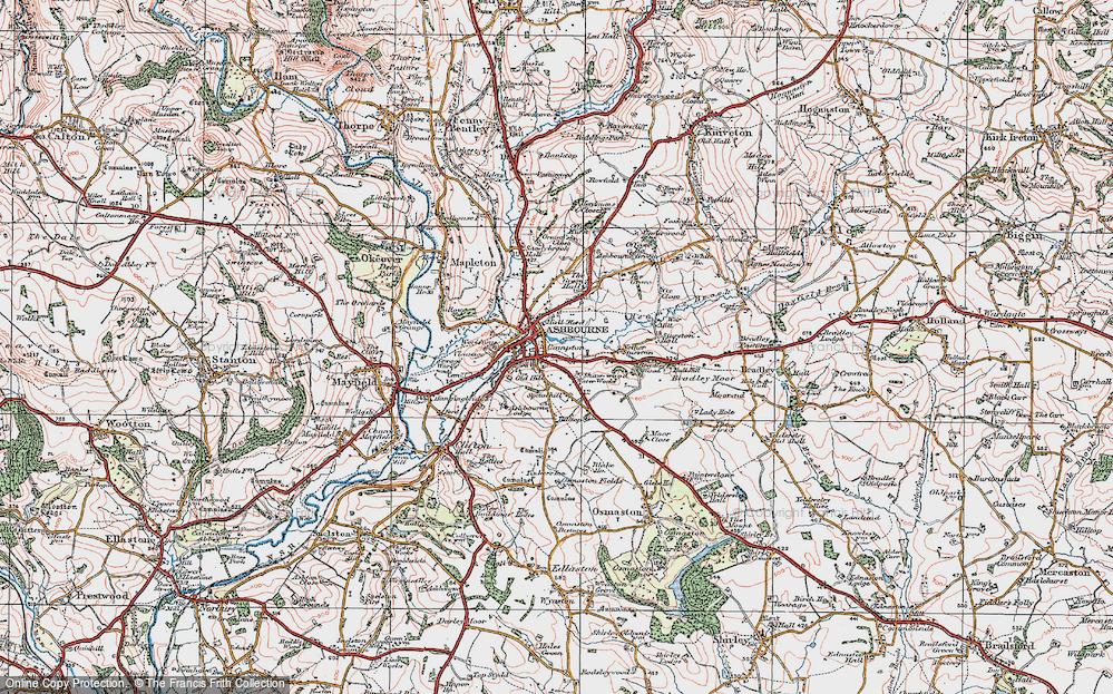 Old Map of Historic Map covering Ashbourne Green in 1921