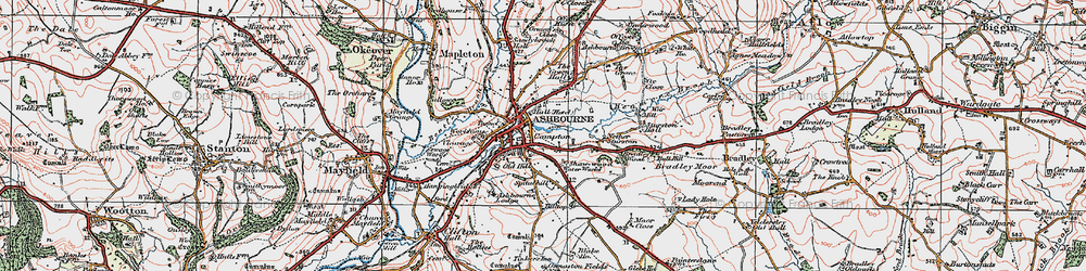 Old map of Ashbourne in 1921