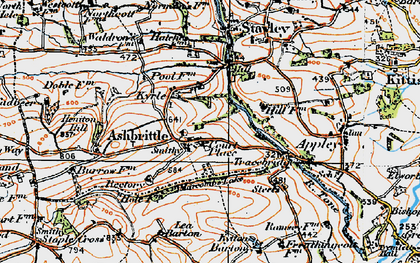 Old map of Ashbrittle in 1919