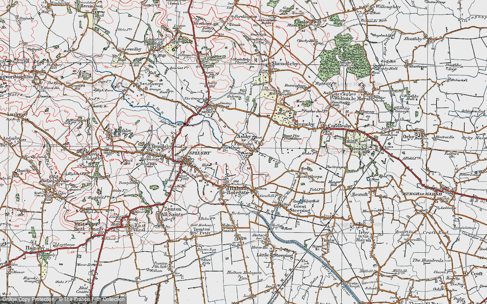 Old Map of Ashby by Partney, 1923 in 1923