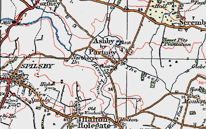 Old map of Ashby by Partney in 1923