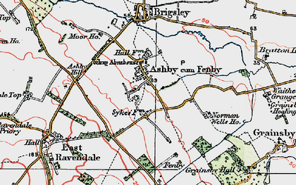Old map of Ashby cum Fenby in 1923