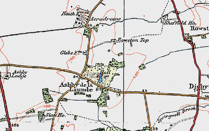 Old map of Ashby de la Launde in 1923