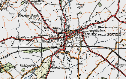 Old map of Ashby-de-la-Zouch in 1921
