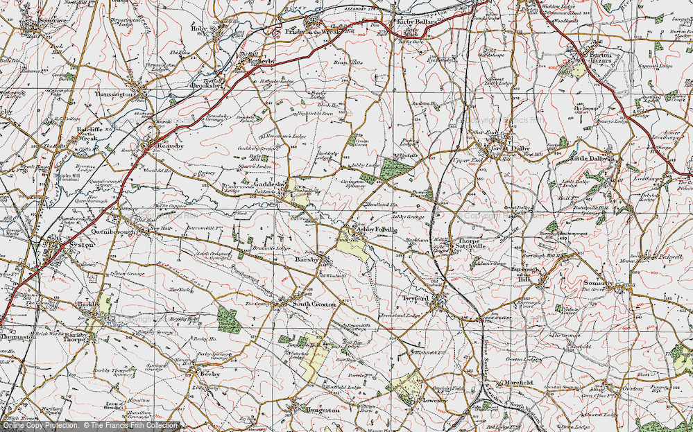 Old Map of Historic Map covering Ashby Pastures in 1921