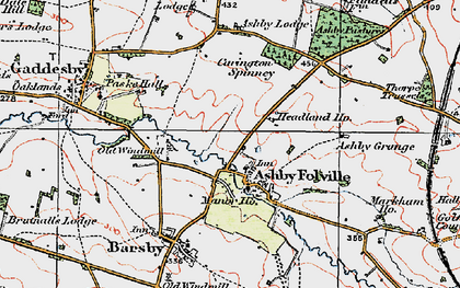 Old map of Ashby Folville in 1921