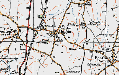 Old map of Ashby Magna in 1920
