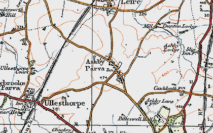 Old map of Ashby Parva in 1920