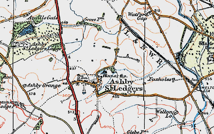 Old map of Ashby St Ledgers in 1919