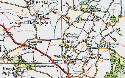 Old map of Ashby St Mary in 1922
