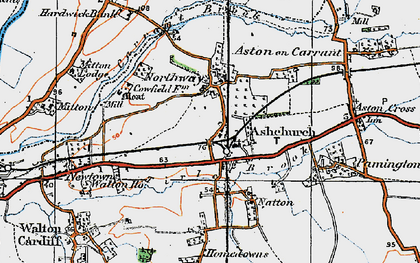 Old map of Ashchurch in 1919
