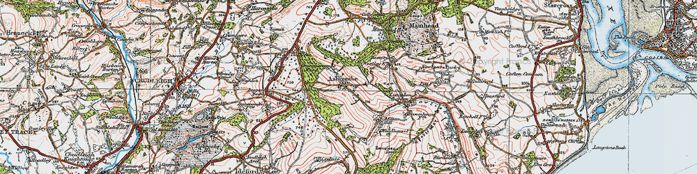 Old map of Ashcombe in 1919