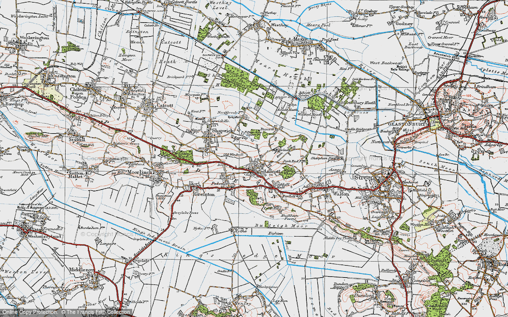 Old Map of Ashcott, 1919 in 1919