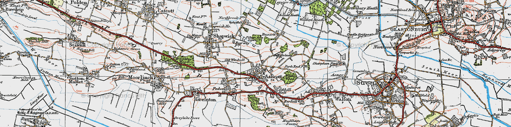 Old map of Ashcott in 1919