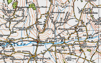 Old map of Ashculme in 1919