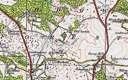 Old map of Ashdown Forest in 1920