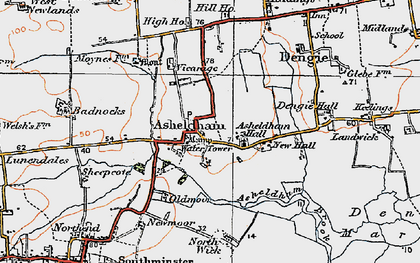 Old map of Asheldham in 1921