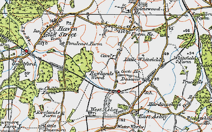 Old map of Ashey Down in 1919