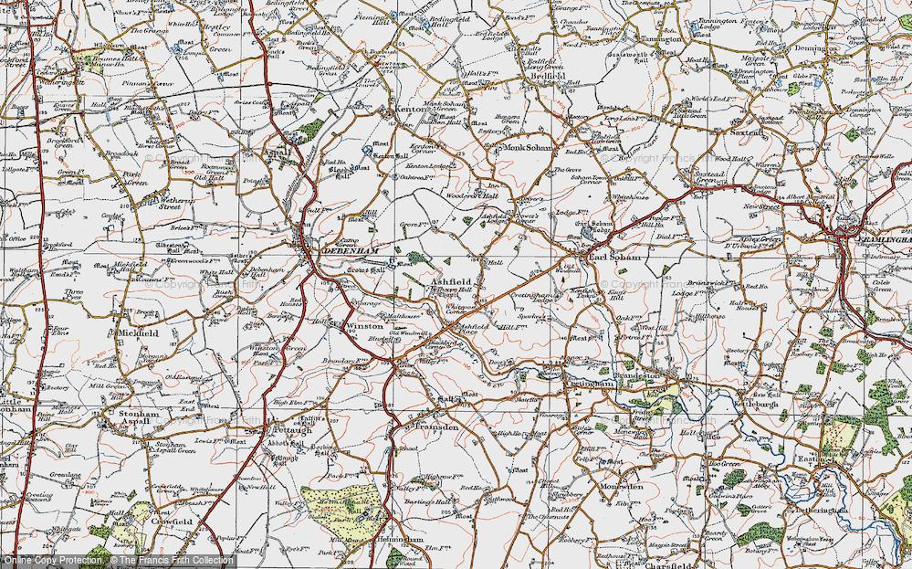 Old Map of Ashfield, 1921 in 1921