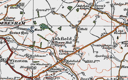 Old map of Ashfield Lodge in 1921