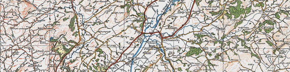 Old map of Aber-Marlais Pk in 1923