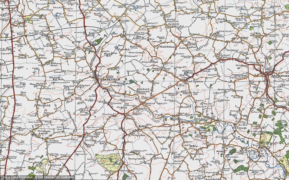 Old Map of Ashfield Cum Thorpe, 1921 in 1921