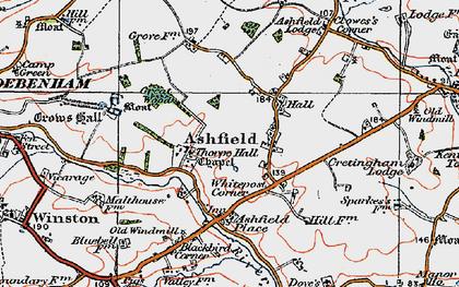 Old map of Ashfield Cum Thorpe in 1921