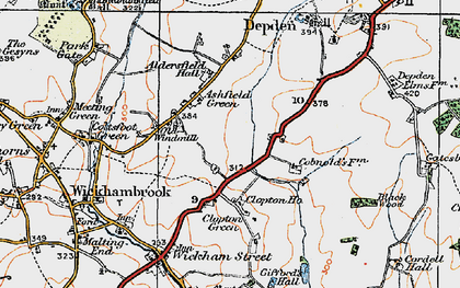Old map of Ashfield Green in 1921