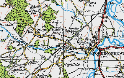 Old map of Ashford in 1919