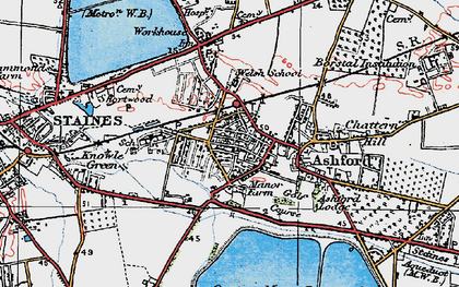 Old map of Ashford in 1920