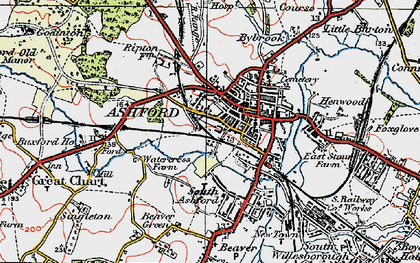 Old map of Ashford in 1921