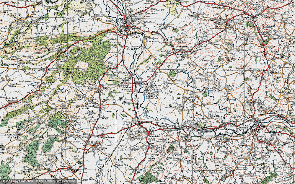 Old Map of Historic Map covering Ashford Court in 1920