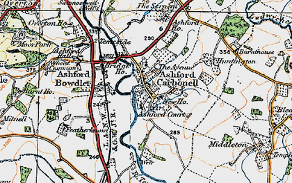 Old map of Ashford Court in 1920