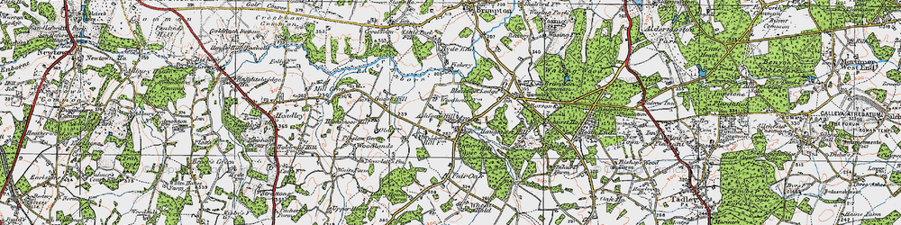 Old map of Ashford Hill in 1919