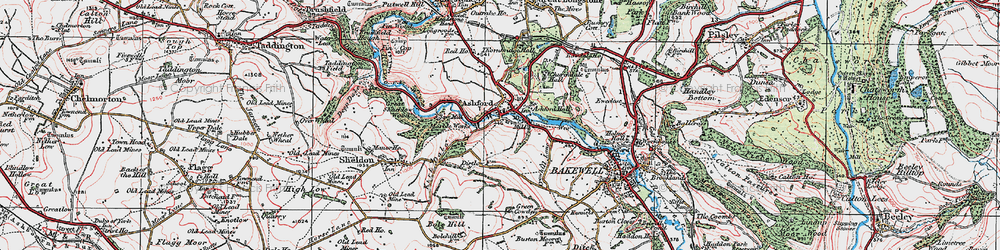 Old map of Ashford in the Water in 1923
