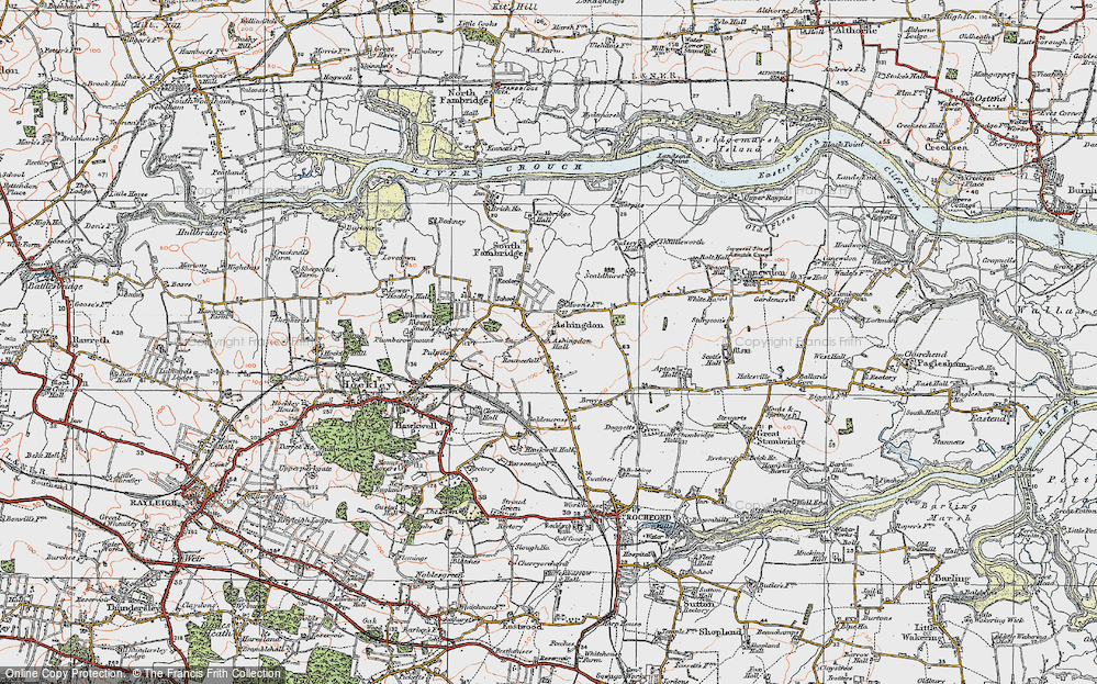 Old Map of Ashingdon, 1921 in 1921