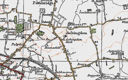 Old map of Ashingdon in 1921