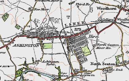 Old map of Ashington in 1925