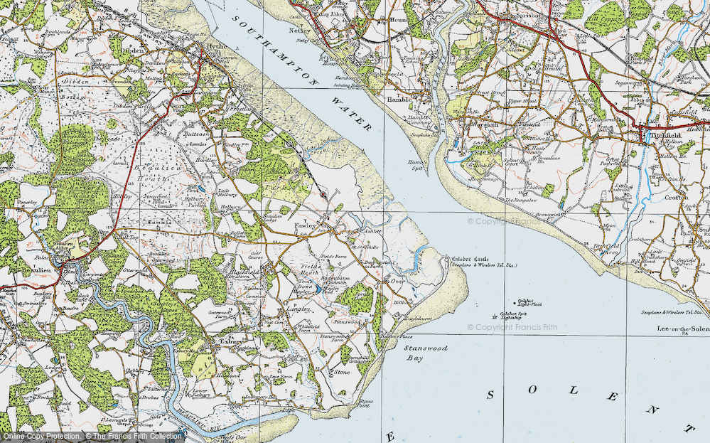 Old Map of Historic Map covering Ashlett Creek in 1919