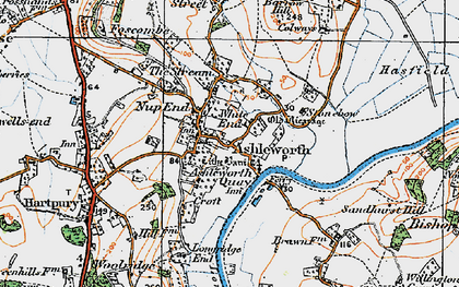 Old map of Ashleworth in 1919